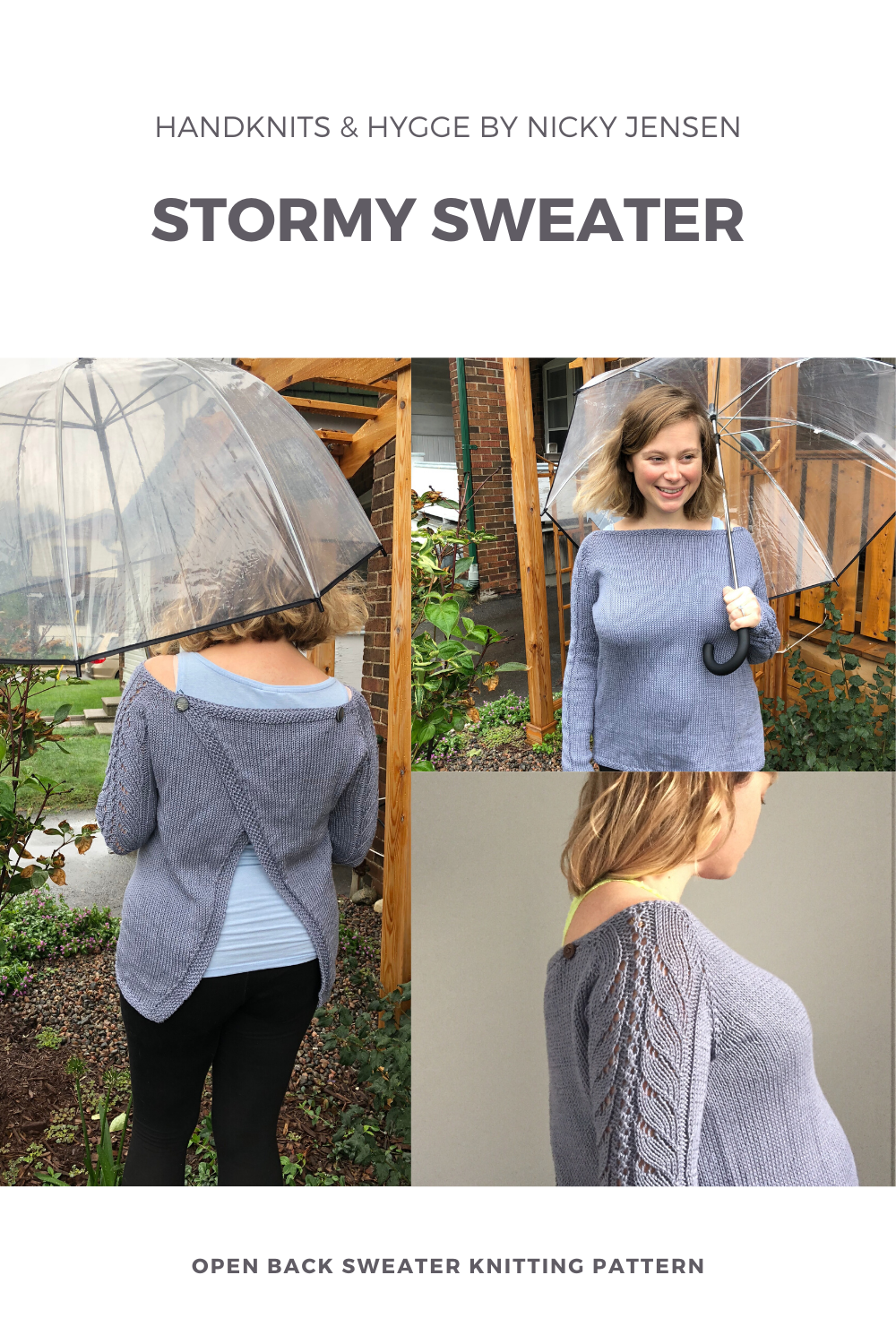 """Handknits & Hygge by Nicky Jensen - Stormy Sweater Open Back Sweater Knitting Pattern"" - Nicky models Stormy, a grey pima cotton raglan with full length lace sleeves and a back that opens diagonally and crosses and buttons at the shoulders"