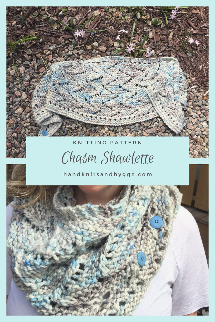 A lace shawlette knit in chunky blue and grey yarn, shown laid out, and modelled around the neck like a cowl