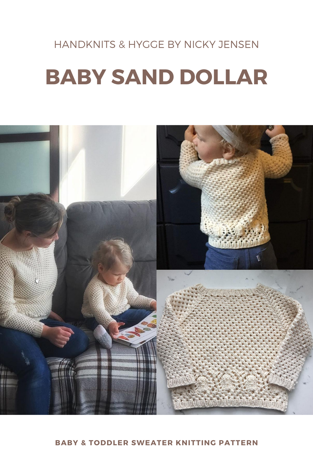 A blonde toddler models a cream mesh pullover with sand dollar lace motif across the hips