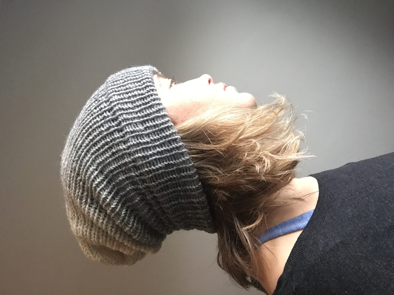 Grey to cream ombre slouch hat