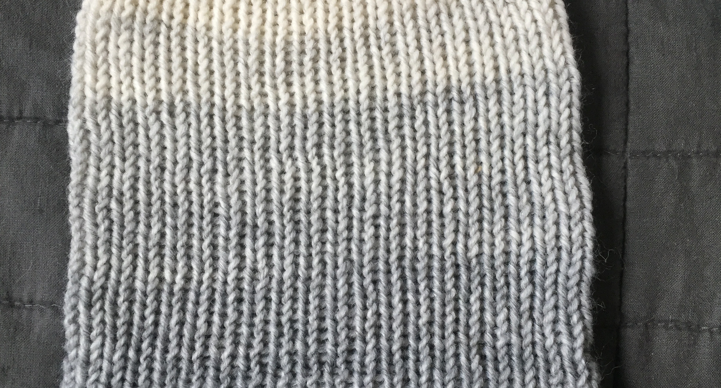 Grey and cream ombre knit slouch hat