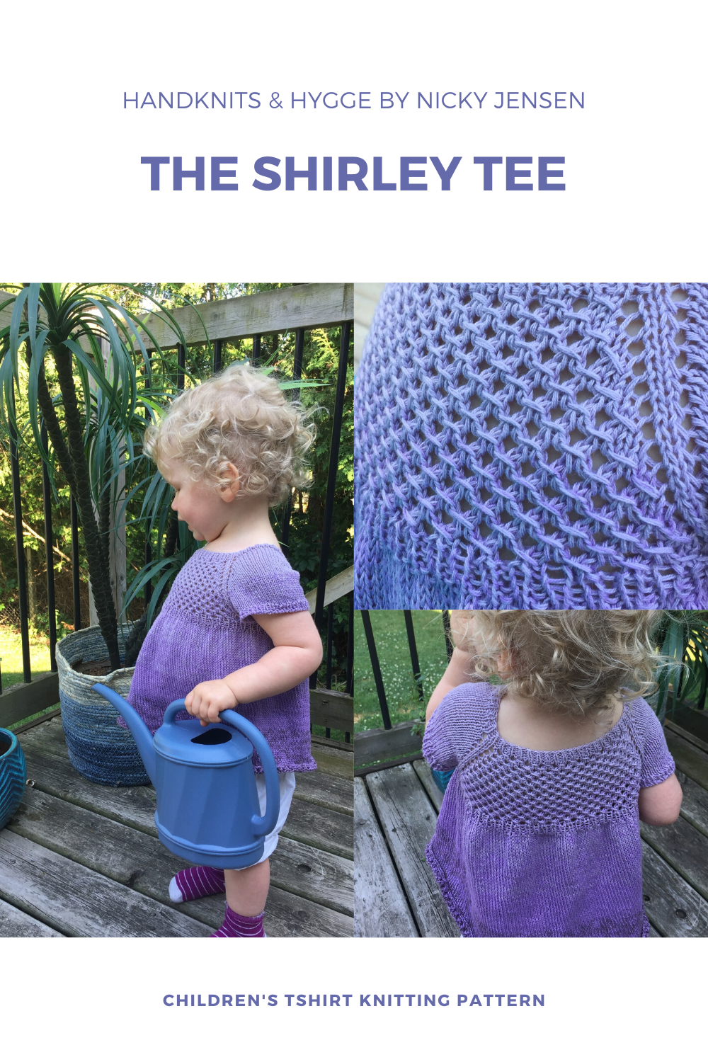 A blonde toddler in a garden wearing a lilac ombre handknit babydoll t-shirt with lace bodice.