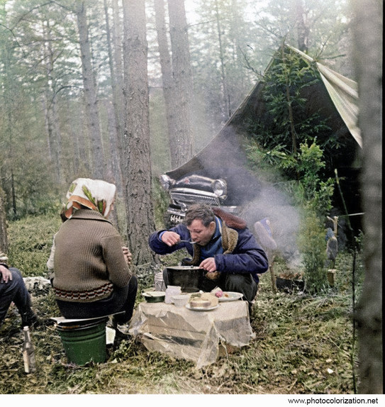 Yuri Gagarin during a picnic in the forest 1962