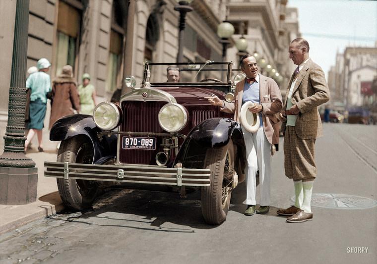Al Jolson and Cadillac touring car