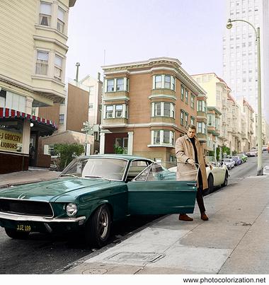 """Steve McQueen during filming of """"Bullitt"""" in 1968"""
