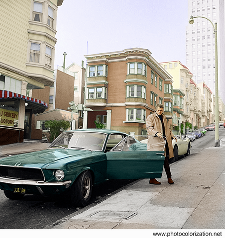 "Steve McQueen during filming of ""Bullitt"" in 1968"
