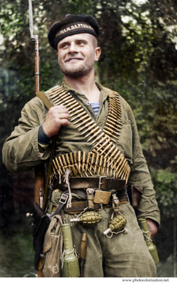 Soviet Marine of the Russian Naval Infantry of the Baltic Fleet. Petty Officer Granovsky who was killed in battle 2 February 1944. 31 August 1941.