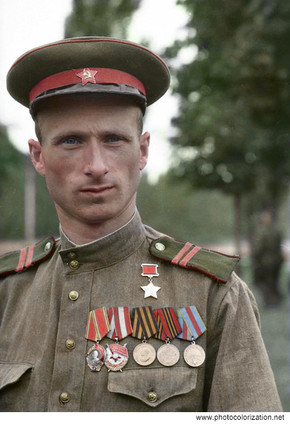 The Hero of the Soviet Union, the junior sergeant Meliton Kantaria. On the night of May 1, 1945, he and Sergeant M.A. Egorov hoisted the red Victory Banner over the defeated Reichstag.