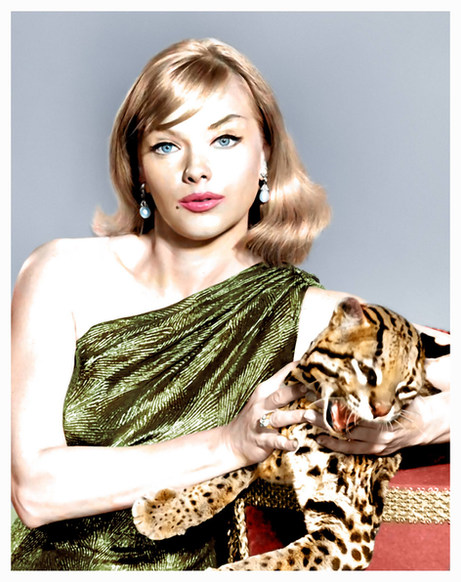 Anne Francis with her pet ocelot