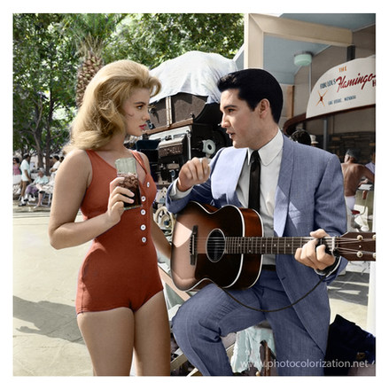 "The photo from the set of the film ""Viva Las Vegas"" starring Elvis Presley."