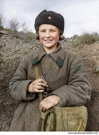 Sergeant Nina Shershneva, who carried 25 wounded from the battlefield. Went missing in the period from 8th to 20th may 1942