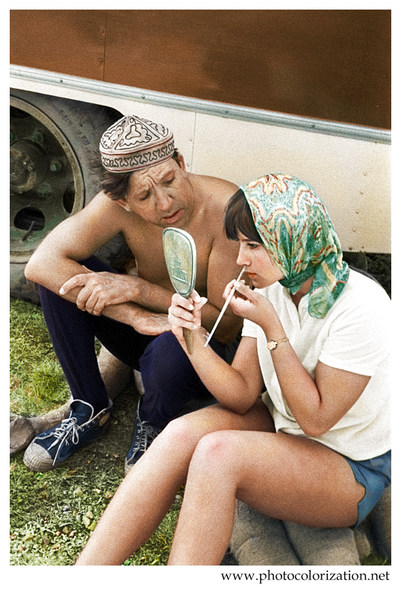 "Yuri Nikulin and Natalia Varley on the set of ""Caucasian captive"""