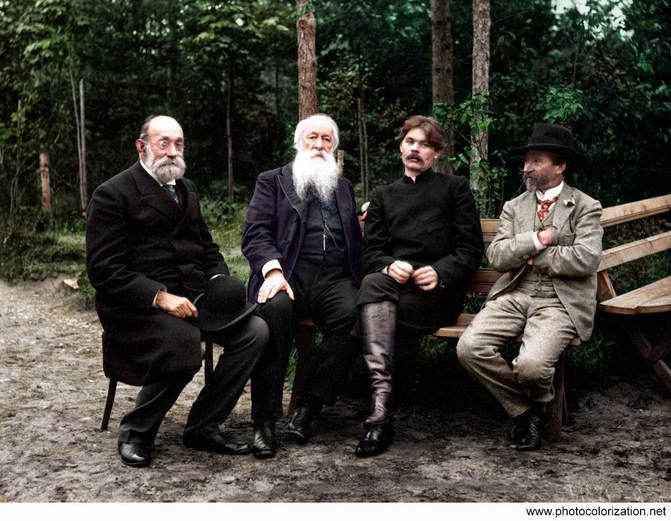 Serbian diplomat Novakovich, Vladimir Stasov, Maxim Gorky, and Ilya Repin. 1905 Kuokkala.