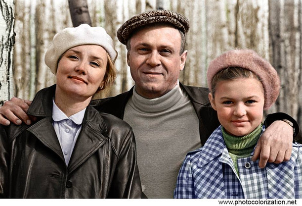 Film Director Vladimir Menshov with his wife and daughter