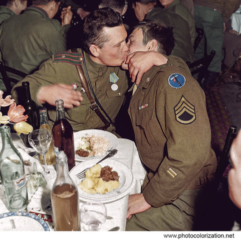 The Friendship Kiss - Russian and US soldier - Germany 1945
