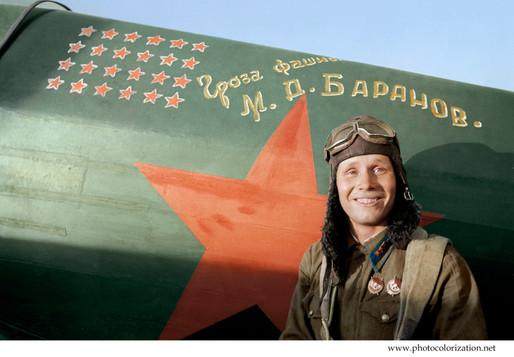 Hero of the Soviet Union, fighter pilot M. D. Baranov. 1942 / Герой Советского Союза, лётчик-истребитель М.Д. Баранов. 1942