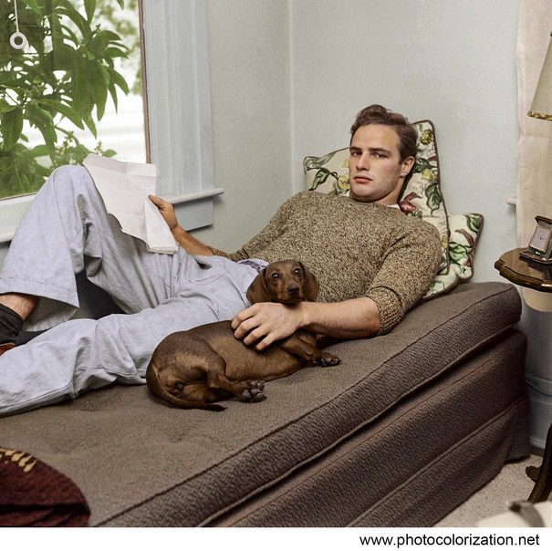 """Marlon Brando in his aunt's house in California during filming of """"Men"""", 1949"""