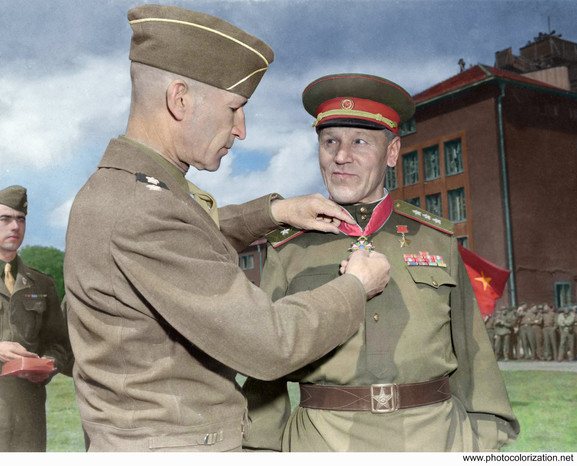 Lt. Gen. William Hood Simpson, commander of the US Ninth Army, after awarding the 'Legion of Merit' to Soviet Col. General Alexander W. Gorbatov - May 1945