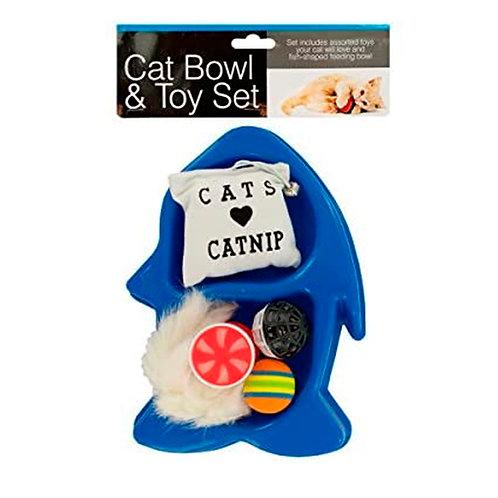 Cat Bowl & Toy Set