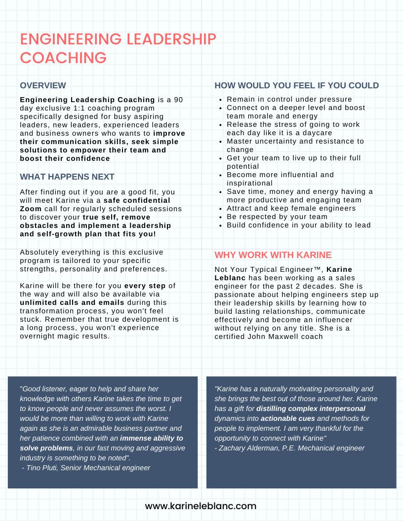 Engineering Leadership Coaching One-Page