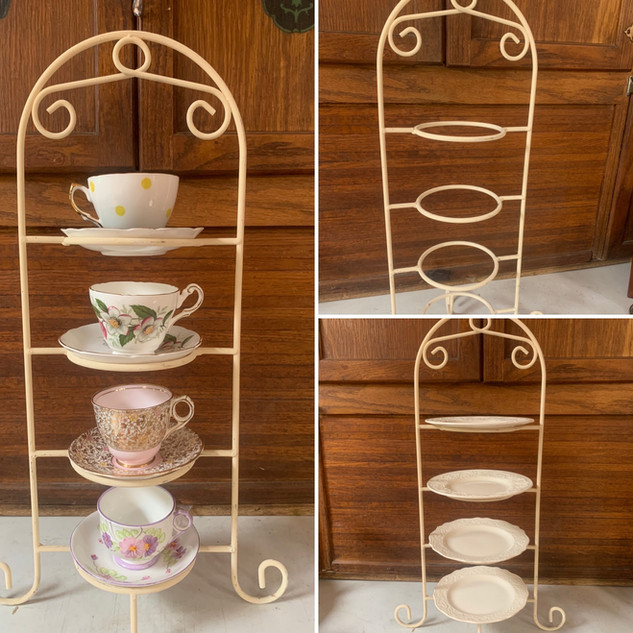 """Tiered cupcake or tea cup stand (china available in """"rentals"""")"""