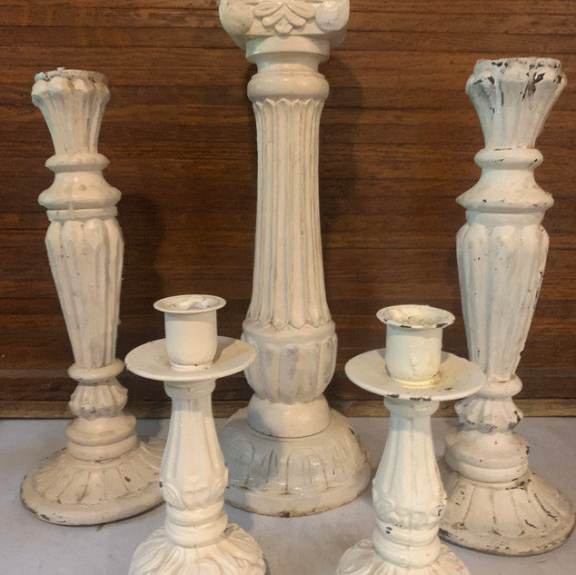 """Shabby Chic Candlesticks.  Distressed collections - look great grouped together! MUST USE LED CANDLES.  NO """"REAL"""" TAPER CANDLES PERMITTED."""