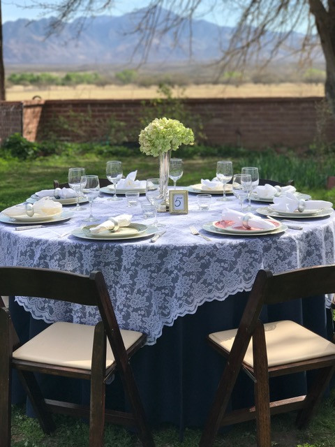 Round Table Overlays.Lace Table Overlays White