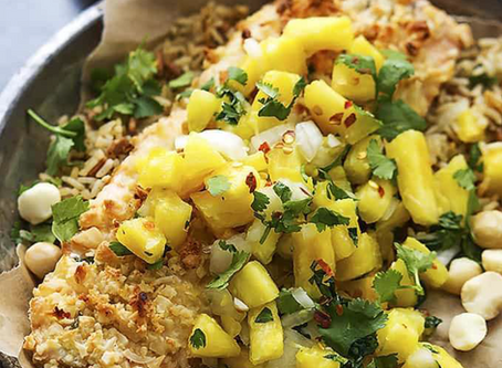 Macadamia Salmon with Pineapple Salsa