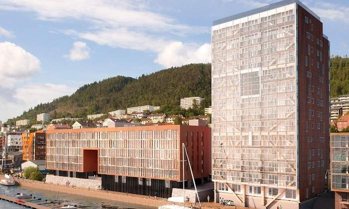 Treet, un rascacielos residencial de madera en Bergen, Noruega. Foto: treetsameie.no I Patagonia Log Homes