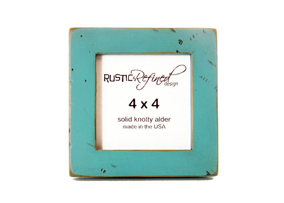 """4x4 (Rustic) Gallery 1"""" picture frame - Turquoise (distressed)"""