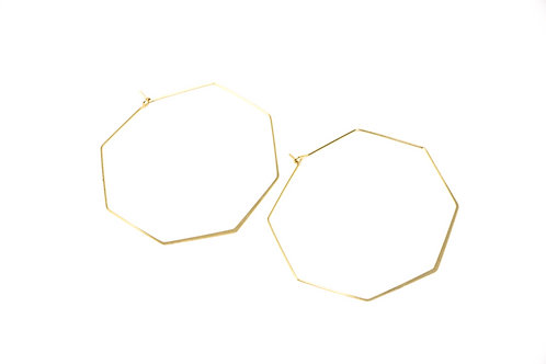 Kaylan 14k Hexagon Hoop