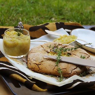 Tarte rustique végétale à la farine de patate douce, par la Cheffe Ô2Continents, N.Brigaud Ngoum 🍠