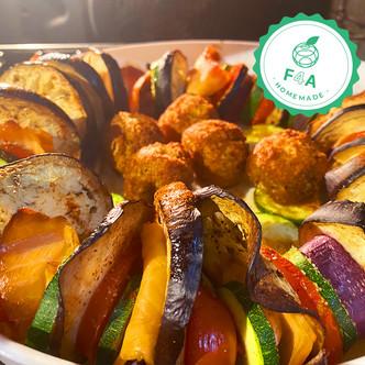 Tian de légumes revisité avec saumon fumé et falafels 🍅
