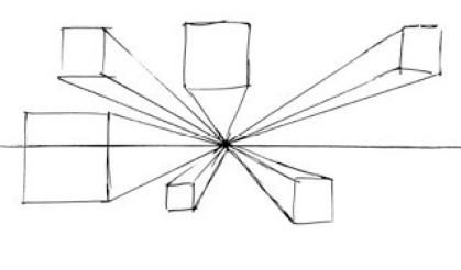 消失点からはみ出した正方形のペンと紙のイラスト。