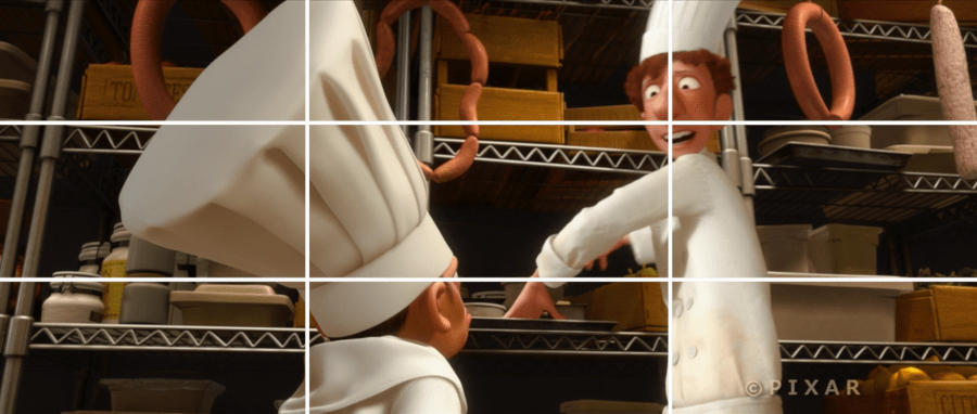 Rule of thirds image using a still from Ratatouille.