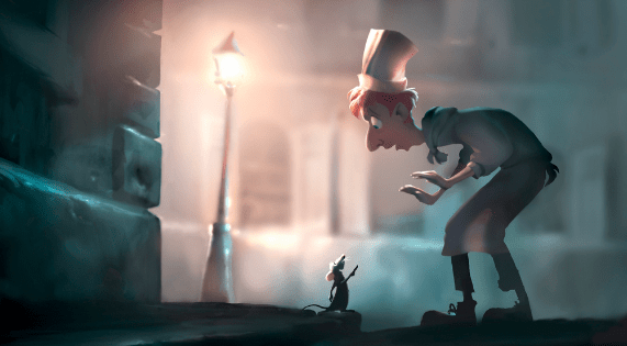 """Scene from Pixar's film """"Ratatouille"""" of a rat pointing his finger at a man in a chef hat, outside on a dark corner near a street lamp."""