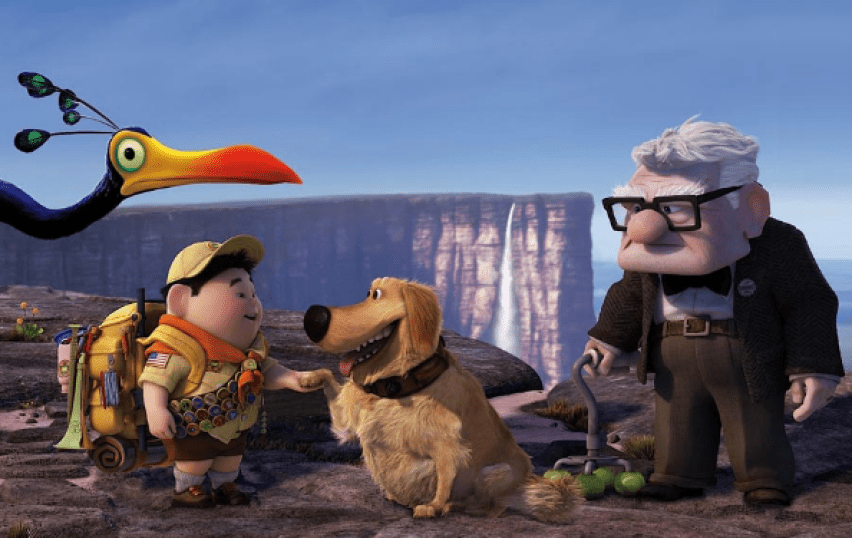 "A scene from the Pixar film ""Up"" with four characters on a cliff: a bird, a boy, a dog, and an old man."
