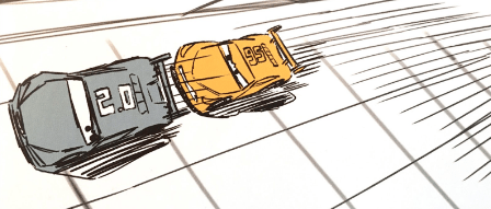 Illustration of two cars racing, one behind the other, with lines indicating their movement forward.