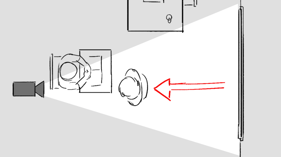 Storyboard image from above showing position of the camera and movement of a character.