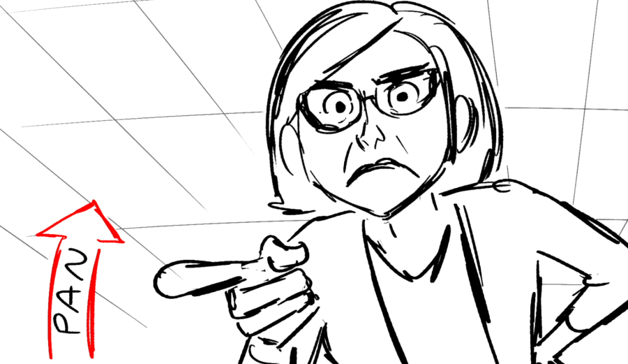 Example of a storyboard image showing a panning shot of a teacher.