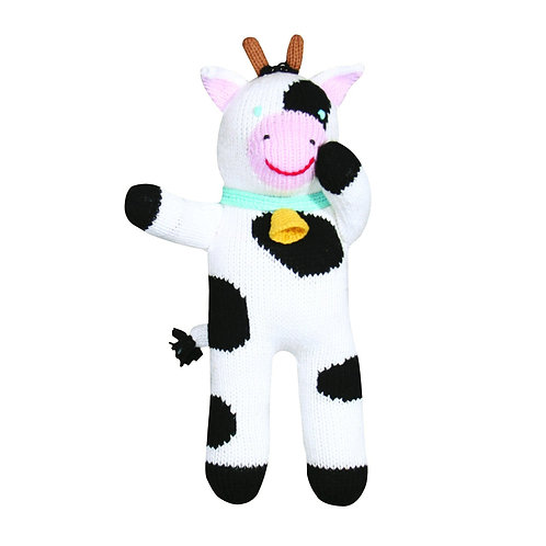 """Hand-knit doll - 12"""" Cow"""