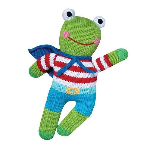 """Hand-knit doll - 12"""" Frog - Cucu"""