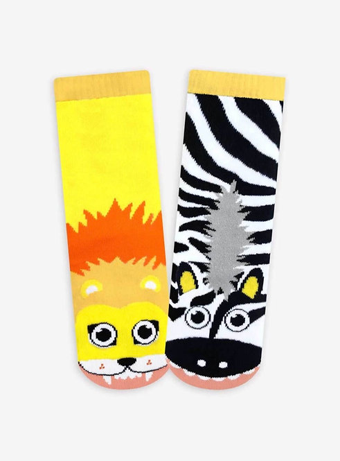Lion and Zebra - Pals Socks - Mismatched Animal Socks