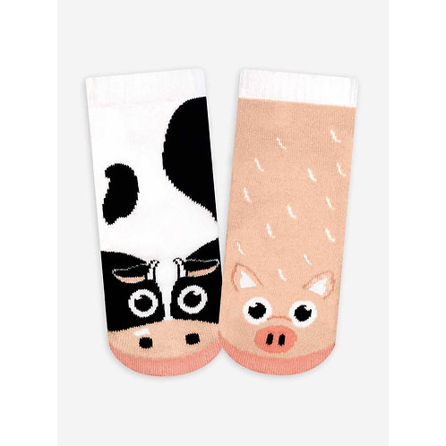 Cow & Pig - Pals Socks - Mismatched Animal Socks