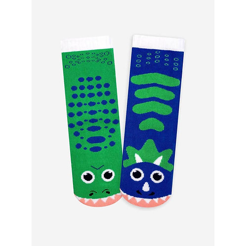 T-Rex & Triceratops - Pals Socks - Mismatched Animal Socks
