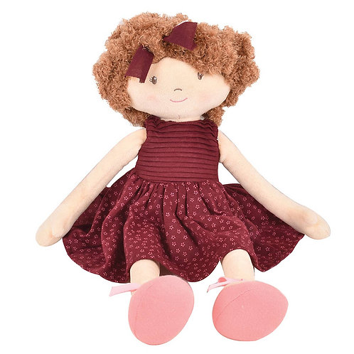 Lola - soft doll with brown hair and maroon dress