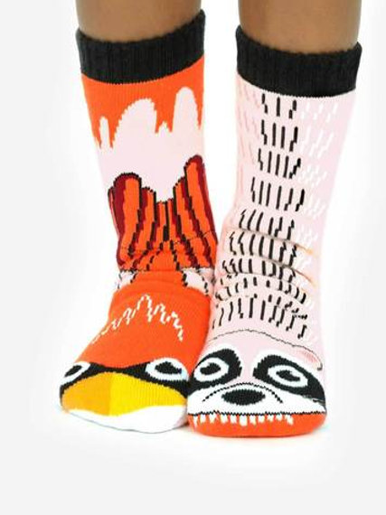 Mismatched Animal Socks - Oranges and Reds