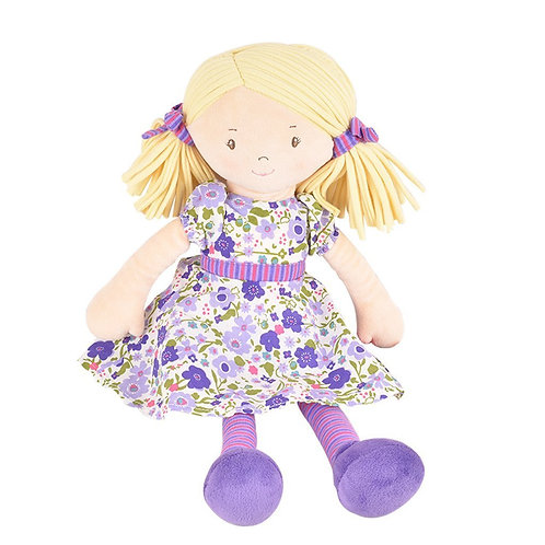 Peggy - soft doll with blond hair and lilac dress
