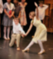 Two children dancing on stage.