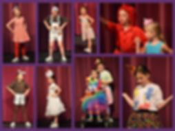 A collage of young actors in oompaloompa costumes they designed for a summer workshop.